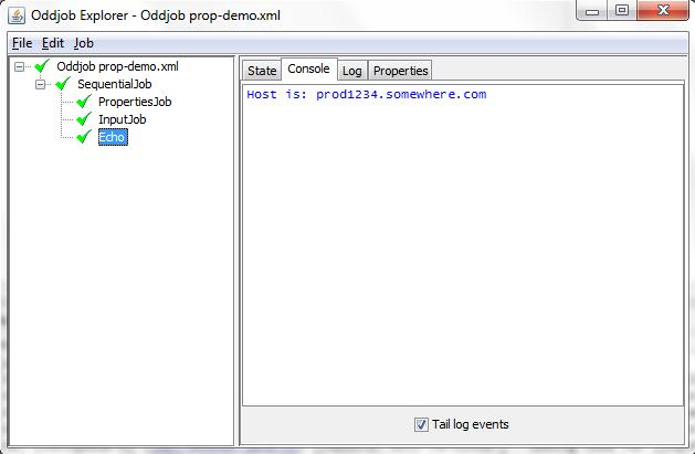 Properties Demo Running in Oddjob Explorer
